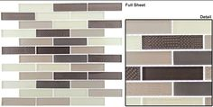 A modern linear mix of taupes and browns with frosted glass and metallic glass. Mesh mounted glass mosaic. GLZ GrandT YT