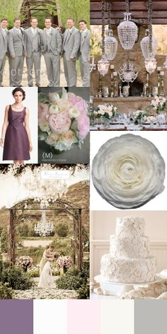 Lavender, Blush, Ivory, Silver Wedding Inspiration Board for a Winery Wedding