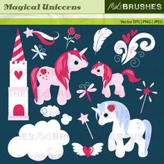 This is a magical and dreamy set of unicorns, and co-ordinating decorative elements. Lovely for girls invitations, cards and wall art.