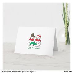 Let it Snow Snowmen Holiday Card Let It Snow, Let It Be, Holiday Cards, Christmas Cards, Snowmen, Party Hats, Paper Texture, Birthday Parties, Kids Shop