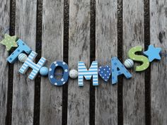 THOMAS  WOODEN LETTERS LETTER DOOR NAME BABY SHOWER DECORATION  SHABBY CHIC