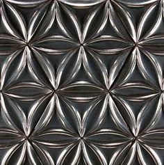 "Ann Sachs Ogassian Ceramic Tile 8"" flora hex field in metallic green grey"