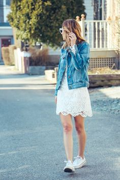 madewell denim jacket, lace dress, casual tomboy,  converse sneakers