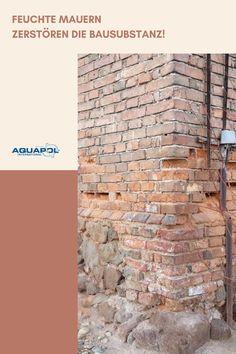 """Bei einer fehlenden oder defekten vertikalen Horizontalsperre saugt das Mauerwerk 🧱 die 💦Feuchtigkeit💦 und auch die Salze aus dem Boden auf wie ein Schwamm! Vielen Hauseigentümern ist oftmals nicht bewusst, dass die Wände feucht sind. Denn die Schäden sind anfangs noch nicht sichtbar.  Der Zerfall der Bausubstanz beginnt und schreitet (vorerst unbemerkt) konstant voran, was im schlimmsten Fall zum sogenannten """"Mauerfraß"""" führt. Je früher du etwas dagegen unternimmst, umso geringer sind die Fo Home, Salts, Brickwork, Ad Home, Homes, Haus, Houses"""