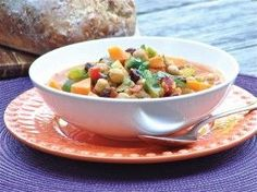 Moroccan vegetable stew with sweet potatoes, chickpeas, ginger, kale and coconut milk.