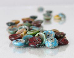 "18/"" Strand 13mm Nouveau Button Style Disc Czech Glass Beads Jet//AB"