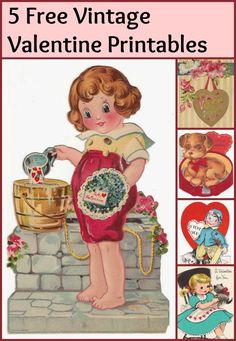 5 fun vintage valentine printables for craft projects and DIY! (scheduled via http://www.tailwindapp.com?utm_source=pinterest&utm_medium=twpin&utm_content=post643091&utm_campaign=scheduler_attribution)
