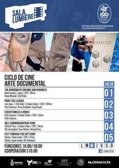 """Te invitamos a disfrutar de la proyección del nuevo ciclo de Cine de la Sala Lumiére del ISIC, """"Arte Documental"""". Funciones: 16:00 y 18:00 horas. Cooperación: $10.00  #Culiacán, #Sinaloa."""