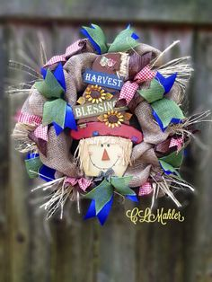 Burlap Thanksgiving Scarecrow wreath on Etsy, $65.00