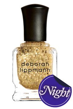 """""""Hands down the best sparkly gold nail polish out there. The glitter specks compliment almost any shade of nail polish when used as a top coat. Takes plain polish from casual to fancy in under five minutes!""""    Deborah Lippmann Nail Polish in Boom Boom Pow"""