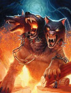 Cerberus, the 3 headed dog that guards Hades in Greek myth. Fantasy Art by Caroline Gariba.