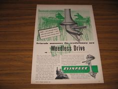1947 Print Ad Evinrude Outboard Motors Weedless Drive 2 Men Fishing in Boat #MagazineAd