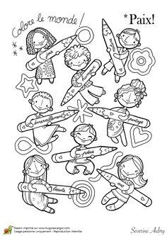 Coloriage sur le thème de la paix, les crayons de la paix - Hugolescargot.com
