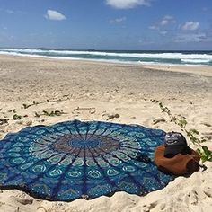 Ecent Round Towel Toalla de Playa Mandala Redonda Playa Mandala Beach con Flecos Toalla Yoga Mat Bohemian Mantel