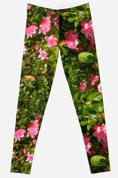 Pink Azaleas Leggings #pink #flowers #plants #azaleas #photography