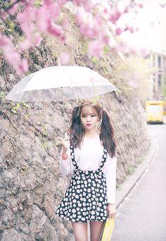 korean fashion - white blouse with black daisy suspender skirt
