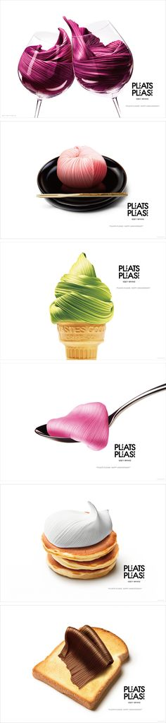 "Série de visuels pour le 20e anniversaire de ""Pleats Please""  d'Issey Miyake par Taku Satoh Design Office Incorporation."