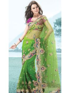 Shaded Pista Green Net Saree With Blouse Pakistani Dresses, Indian Dresses, Indian Outfits, Indian Clothes, Bollywood Designer Sarees, Bollywood Saree, Bollywood Fashion, Indian Beauty Saree, Indian Sarees