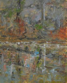 """Raymond Berry: Rock Face on South Anna, Afternoon Reflections, November 30, 2013, Oil on Panel, 10"""" x 8"""""""