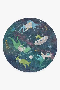 Dinosaurs in Space Rug Dinosaur Bedroom, Nursery Rugs, Room Rugs, Machine Washable Rugs, Navy Rug, Natural Rug, Space Theme, Colorful Rugs, Turquoise
