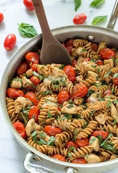 30 minutes Cheesy Caprese Chicken Pasta. An easy chicken mozarella pasta with tomatoes and basil that's fast and healthy. Our whole family loves it!