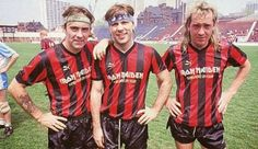 Steve Harris, Bruce Dickinson and Adrian Steve Smith of Iron Maiden ready for a game.