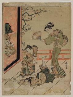 Two Boys Wrestling  廊下の相撲 Japanese Edo period about 1767–68 (Meiwa 4–5) Artist Suzuki Harunobu (Japanese, 1725–1770)