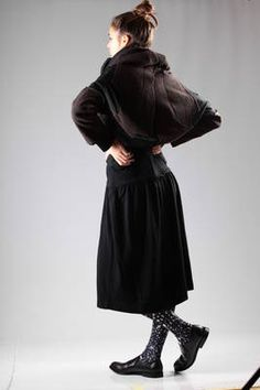 Long coat in pinstriped gabardine and heavy knitted  wool, polyester, nylon and acrylic - COMME DES GARÇONS