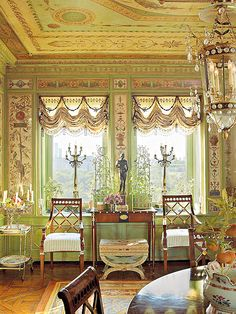 """Howard Slatkin's """"Fifth Avenue Style"""" Dining Room looking out over Central Park"""