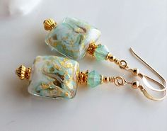 Murano Glass Earrings, Venetian Glass Earrings, Aqua Gold Foil Murano Earrings, Murano Glass Jewelry, Murano Drop Earrings, Aqua Glass Beads by hhjewelrydesigns on Etsy