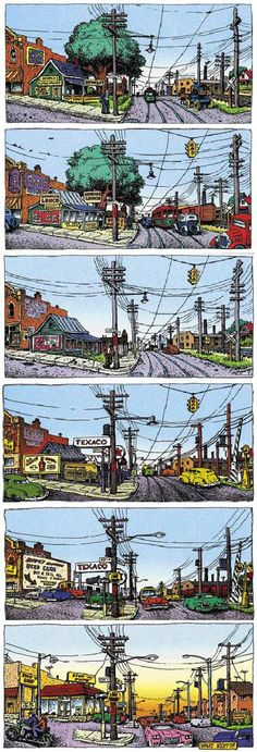 Robert Crumb résume l'Histoire du développement Nord-Américain à travers « A short story of America ».