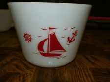 Vintage McKee milk glass ( white ) red ships sailboat canister bowl - EUC!