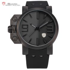 (33.61$)  Watch here - http://aiucl.worlditems.win/all/product.php?id=1972636140 - Shark Sport Watch Men Brand Relojes Hombre 3D Logo Left Button Silicone Strap Male Clock Men Casual Military Quartz-Watch/ SH171