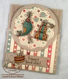 It's Karenhere with a fun Bird-Day Party card. I'm obsessed with these FuN birds from Elizabeth Craft Designs and also love cards that have fun folds to them. My crafty mentor is so good at them, and I'm using one of her folds today. I'm combining the fun folds and a fabulous bird for a cardI made for my son who just turned 24. The paper is called Manly Man and it is NEW! Here are the steps I used to make this card: 1.Stamp the stack of presents, bird and cake with black ink onto…