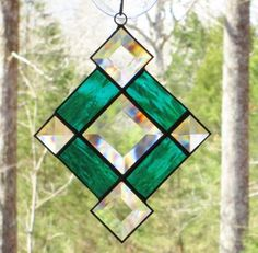 Small Stained Glass Suncatcher  Teal Green by CartersStainedGlass