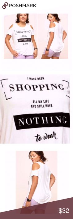 Shopping all my Life Cold Should Top NWT Super Fun & True Heheh! Shopping all my Life Cold Shoulder Top.  Black & White Plus Size 2X, Rayon & Spandex Relaxed Fit. Perfect for Summer Must have Tee.  Additional Details attached with Picture Avenue Tops Tees - Short Sleeve