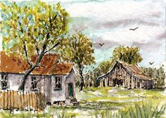 Rural Homestead ACEO Original Miniature Watercolor Ink Landscape Painting  BRJ