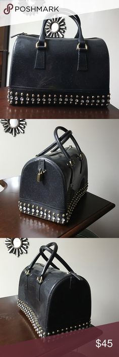 Jelly bean speedy doctor Boston purse bag studs I don't want to sell it 😫 but I have never carried it after the first week so she didn't make the cut.  Black jelly bean candy boston / speedy style handbag. Sparkles throughout the body of the bag. Gold and crystal studs - none are missing. Lock is included as pictured. Good heavy weight to the bag & looks just like a Furla candy bag.  So much fun! Bags Satchels