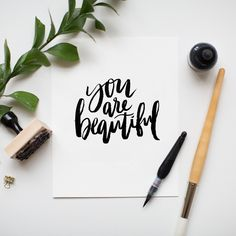 """You are Beautiful"" hand lettered print by Jenny Highsmith. Nice work Jenny I really like the picture and the style of the lettering. Calligraphy Letters, Typography Letters, Modern Calligraphy, Calligraphy Quotes Scriptures, Handwritten Quotes, Learn Calligraphy, Lettering Brush, Lettering Design, Brush Script"