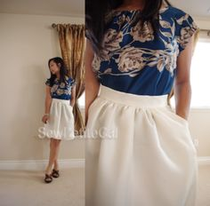 SewPetiteGal: J. Crew Inspired Skirt #DIY Tutorial