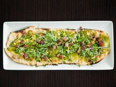 Bacon, Pea and Quail Egg Flatbread at Paramour