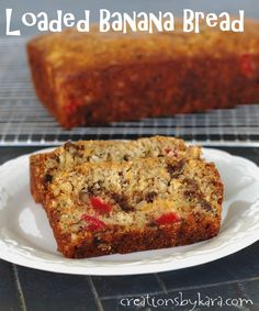 Banana bread recipe with chocolate chips, coconut, cherries, and more! -from creationsbykara.com #recipe #bananabread