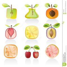 Abstract  Fruit Icon Set - Download From Over 27 Million High Quality Stock Photos, Images, Vectors. Sign up for FREE today. Image: 10080691