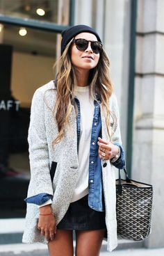 layered herringbone coat, denim shirt, crew-neck tee