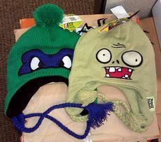 NEW/NWT Plants vs Zombies & Ninja Turtle Beanie/Hats (2) PC Sets Winter Ear Flap #Beanie