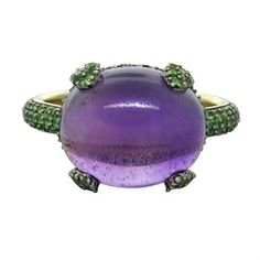 Pomellato gold ring with amethyst cabochon,surrounded by tsavirite gemstones @ oakgem.com
