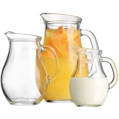 Serve fresh-squeezed lemonade and sweet sangria at your next soiree with this timeless glass pitcher set, showcasing a curved silhouette and embossed measure...