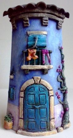 two storey . Clay Houses, Ceramic Houses, Paper Houses, Miniature Houses, Ceramic Clay, Pottery Houses, Felt House, Clay Fairies, Clay Figurine