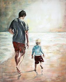 father son beach painting