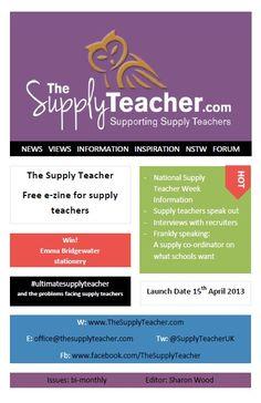New e-zine for supply teachers, substitute teachers, relief teachers, guest teachers, occasional teachers, emergency teachers, guest teachers and casual teachers - launches tomorrow!